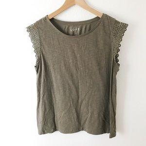 ANN TAYLOR LOFT // Green lace short sleeve tee L